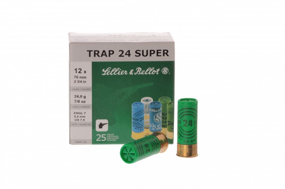 Náboje 12/70 TRAP 24 SUPER 2,4mm Sellier & Bellot