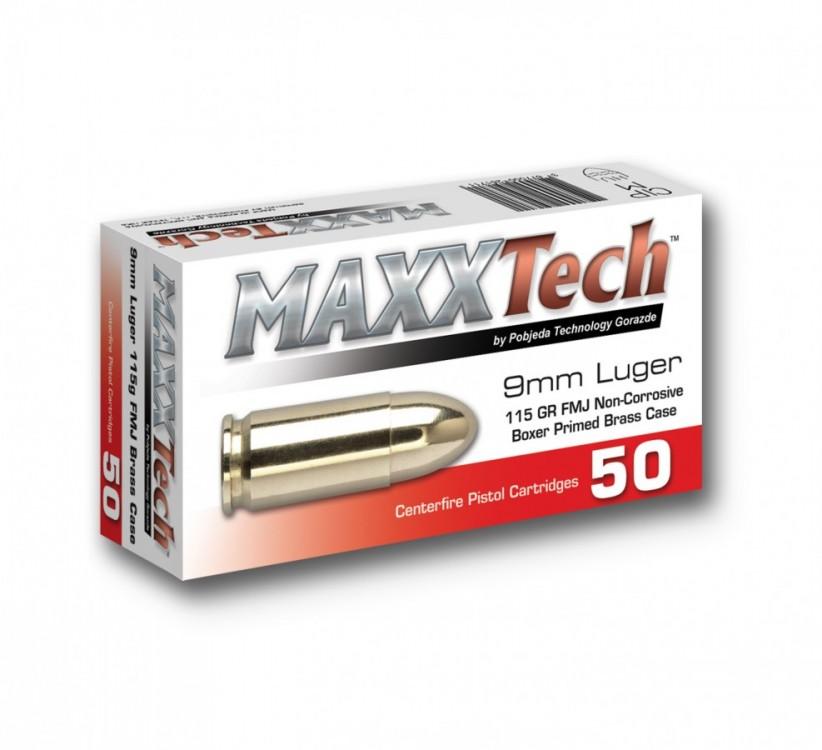 Náboje 9mm Luger Maxxtech FMJ 115grs.