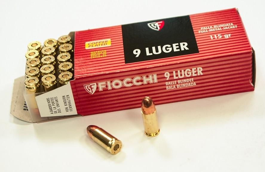 Náboje 9mm Luger FMJ (FIOCCHI)