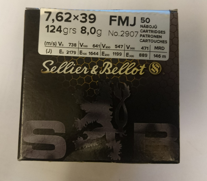 Náboje 7,62x39 FMJ 123gr Sellier&Bellot