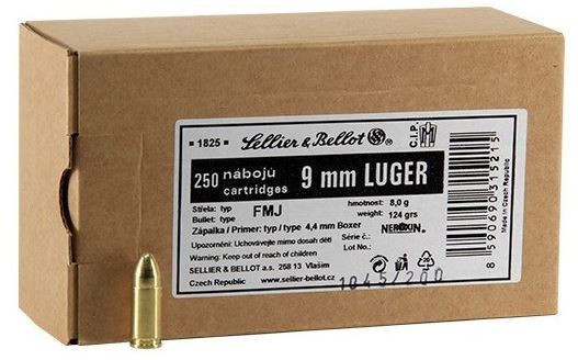 Náboje 9mm Luger Sellier & Bellot FMJ 250ks