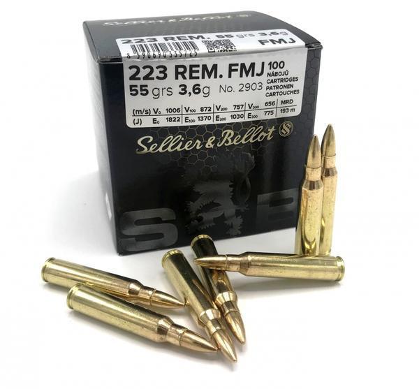 Náboje Sellier Bellot .223Rem FMJ 55grs.